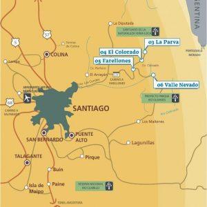 Mapas com os centros de Esqui